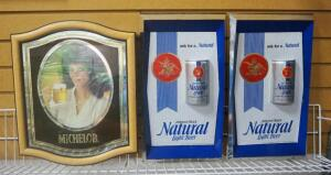 Anheuser Busch Natural Light Beer 3-Dimensional Wall Hangings, Qty 2, And Michelob Back Bar Mirror