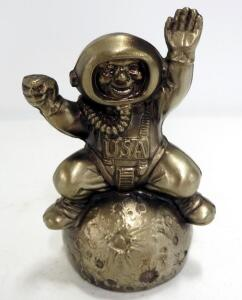 "Metal Astronaut Moon Landing Bank With Promotional Bank Label On Back, 6.75"" High"