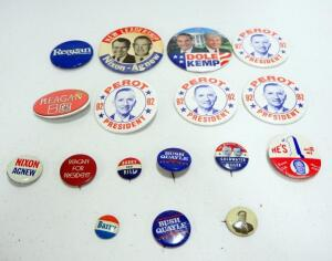 Political Campaign Buttons, Candidates Include Taft, Reagan, Bush, Ford, Nixon, Dole, Goldwater, And Perot, Qty 17