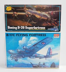 Academy Minicraft B-17C Flying Fortress Model Plane (Contents Unopened) And MPC Boeing B-29 Superfortress Model Plane, Both 1:72 Scale