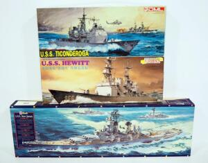 1:350 Scale Model Ships, Includes Revell USS New Jersey, Dragon USS Hewitt And USS Ticonderoga, All With Instructions And Unopened Contents