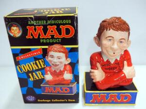 Mad Magazine Ceramic Alfred E. Neuman Collectible Cookie Jar, In Box