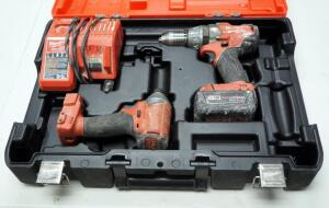 "Milwaukee M18 Cordless 1/2"" Hammer Drill/Driver And Hex Impact Driver, Includes Battery Charger, Battery And Carrying Case"