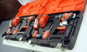 "Milwaukee M18 Cordless 1/2"" Hammer Drill/Driver And Hex Impact Driver, Includes Battery Chargers And Carrying Cases Qty 2, One Drill Needs Repair"
