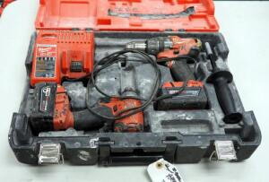 "Milwaukee M18 Cordless 1/2"" Hammer Drill/Driver And Hex Impact Driver, Includes Battery Charger, Batteries And Carrying Case"