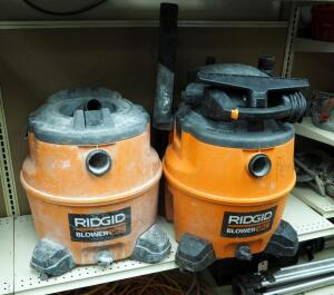 Ridgid 16 Gallon Blower Vac, Qty 2, One Missing Motor, No Hose