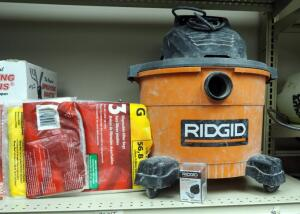 Ridgid 9 Gallon Shop Vac, No Hose, with Disposable Filter Bags And More