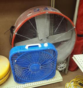 "Maxx Air 32"" Rolling Shop Fan And Lasko Box Fan"