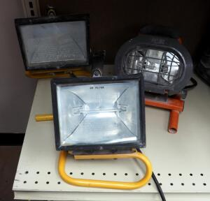 Halogen Shop Lights, Qty 3