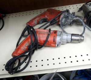 "Milwaukee Heavy Duty 1/2"" Electric Drills, Qty 2"
