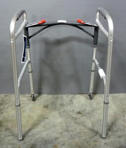 "Deluxe Folding Walker, Two Button with 3"" Wheels (No. 10206-4)"