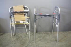"Deluxe Folding Walker, Two Button with 3"" Wheels (No. 10206-4 And 10206-1), Qty 2, No 10206-4 Is Missing A Leg"