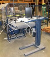 "Flex Point Robot, Model 2436, Automatic Flexpoint Instation Of Points Frame Manufacturing Machine, Includes Heavy Duty Metal Stand, Plexiglass Enclosure, Monitor, Keyboard, And Metal Safety Cage, Machine Measures 66"" x 164"" x 93"", Safety Cage Measures 65"" - 8"