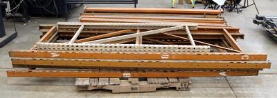 "Heavy Duty Pallet Racking Including Upright Frames Qty 4, 9' x 3', 92"" Load Beams Qty 21, And Rack Clips Qty 2 Boxes"
