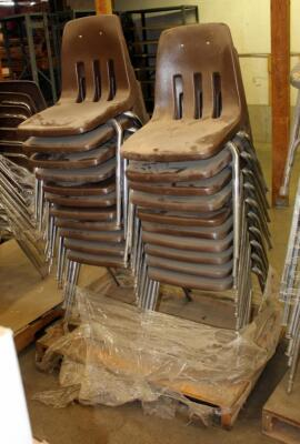 Metal Framed Stacking Chairs, Qty 21, Contents Of Pallet
