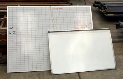 "Metal Framed Wall Mount Dry Erase Boards, Qty 2, 36"" x 48"" And 24"" x 36"""