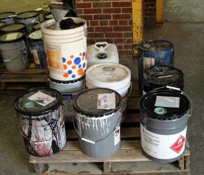 Wood Finishing Supplies Including Sherwin Williams Mineral Spirits, Wiping Stain, Black Lacquer, & More, Large Qty, Some Partially Full, Contents Of Pallet, Bidder Responsible For Proper Removal