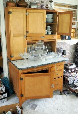 "Antique Solid Wood Hoosier Cabinet With Flour Sifter, Cutting Board, Glass Knobs And Pull-Out Enamel Counter Top, 70""x40""x28"" Click For More Details"