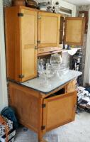 "Antique Solid Wood Hoosier Cabinet With Flour Sifter, Cutting Board, Glass Knobs And Pull-Out Enamel Counter Top, 70""x40""x28"" Click For More Details - 2"