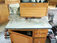 "Antique Solid Wood Hoosier Cabinet With Flour Sifter, Cutting Board, Glass Knobs And Pull-Out Enamel Counter Top, 70""x40""x28"" Click For More Details - 8"