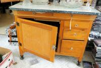 "Antique Solid Wood Hoosier Cabinet With Flour Sifter, Cutting Board, Glass Knobs And Pull-Out Enamel Counter Top, 70""x40""x28"" Click For More Details - 9"