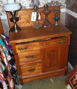 "Antique Solid Wood 3 Drawer Wash Stand With Carved Front, 37.5"" x 29.5"" x 17.5"", And Electric Brass Pedestal Lamp. Oil Lamps Not Included"