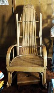 "Bent Wood Slat Back Rocker, 46"" x 24"" x 34"", Includes Foot Stool"