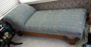 "Ornately Carved Wood Upholstered Chaise Lounge, On Wood Casters, Measures 29""x80""x 30"""