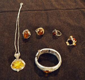 Sterling Silver And Amber Rings Qty 4, Pendant Necklace, And Cuff Bracelet