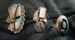 Mens And Womens Sterling Silver Opal And Turquoise Rings Qty 3, Sizes Unknown