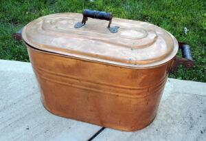 "Antique Copper Boiler With Lid, 18"" Tall x 26"" x 12.5"""
