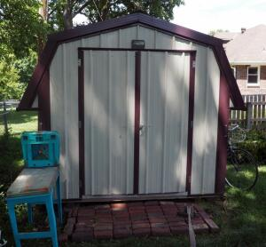 Portable Metal 2 Door Garden Shed With Skylights, 8' x 9.5' x 8.5', Contents Not Included, Pick Up By Appointment Only After Personal Property Has Been Removed, Bidder Responsible For Proper Removal, Shed Is On Skids