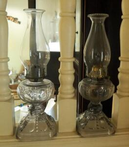 "Matching 17"" Pressed Glass Kerosene Oil Lamps, Qty 2, With Flat Wick Burners"