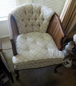 "Upholstered Button Tufted Chairs With Cane Accented Arms And Cabriole Legs, Qty 2, 28"" x 25"" x 29"""