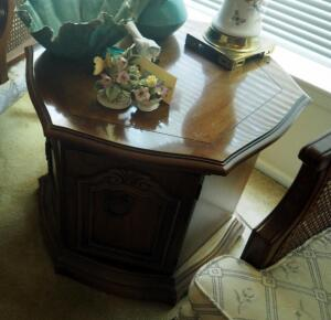 "2 Door Solid Wood Drum Accent Table, 21"" x 24"" x 24"", Contents Not Included"