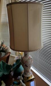 "Hand Painted Asian Inspired 35"" Porcelain Table Lamp With Cloth Shade, Shade Is Worn"