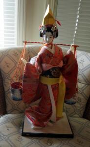 "Hand Painted Japanese Geisha Doll On Wood Base, 20"" Tall"