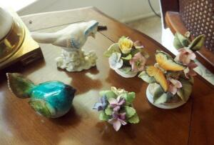 Coalport, Lefton, And Royal Adderley Bone China Figurines Qty 4 (Minor Damage), Includes Bird Figurines Qty 2