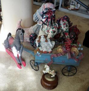 Musical Porcelain Carousel Horse, Hand Sewn Victorian Rocking Horse, And Porcelain Doll In Wagon