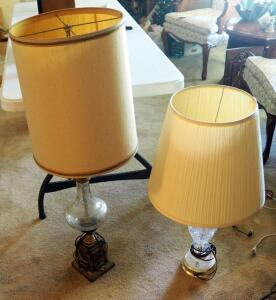 "41"" Crackle Glass Pedestal Table Lamp With Metal Base And 31"" Cut Glass Table Lamp With Brass Finish"