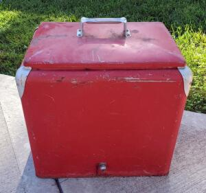 "Vintage Insulated Metal Cooler With Lid And Interior Tray, 19"" Tall x 18"" Wide x 13"" Deep"