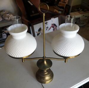 "Antique Brass 2 Light Table Lamp With Milk Glass Shades, 22"" Tall x 19"" Wide"