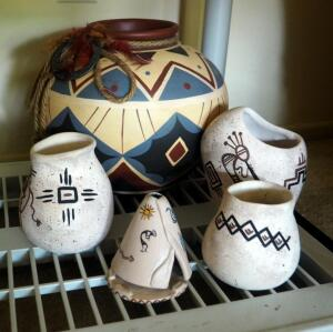 Hand Painted Sandstone Pottery Vases, Incense Burner, And Large Hand Painted Clay Pot, Total Qty 5 Pieces