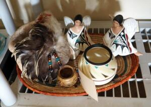 "Native American Handcrafted Husk Pot With Feathered Front, Winged Native American Ceramic Figurines, 16"" Woven Tray, And More"