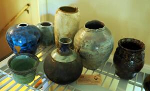 Signed Pottery Vases, Qty 7, Including Miles Roberts Wolf Hair, Myrna Clay Pottery, And Jim Price Pottery