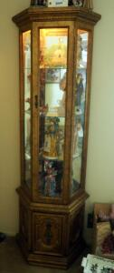 "Lighted 2 Door Curio Cabinet With Mirrored Back And Glass Shelves, 72"" x 26"" x 11"", Contents Not Included, 2ND DAY LOADOUT ONLY"