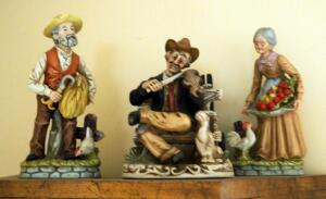 "Hoda Painted Ceramic Farm Figures, Elderly Farmers And Fiddler Qty 3, 9"" And 8"" Tall"