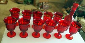 Vintage Ruby Red Glass Stemware Set With Decanter, Qty 12 Pieces