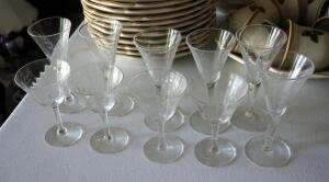 Etched Glass Stemware Collection Including Glasses And Decanter, Qty 11 Pieces