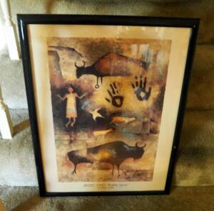 "Framed ""Ancient Voices Buffalo Spirit"" By Monica Stobie, 25.5"" x 19"""